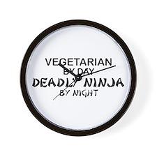 Vegetarian Deadly Ninja by Night Wall Clock