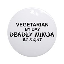 Vegetarian Deadly Ninja by Night Ornament (Round)