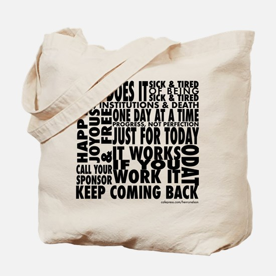 Recovery Slogans Tote Bag