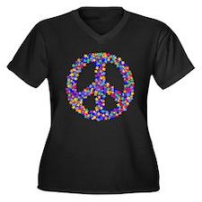 Star Peace Symbol Women's Plus Size V-Neck Dark T-