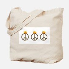 3 Fire Skull Peace Symbol Tote Bag