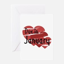 Due In January Red Hearts Greeting Card