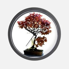 Red Leaf Bonsai Wall Clock