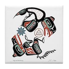 Eagle & Wolf Rising Tile Coaster