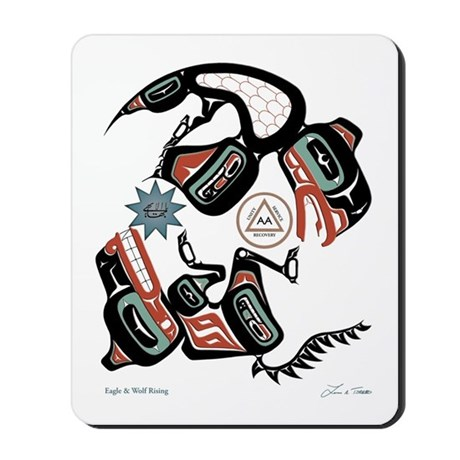 Eagle & Wolf Rising Mousepad