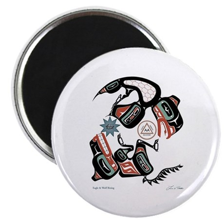 "Eagle & Wolf Rising 2.25"" Magnet (10 pack"