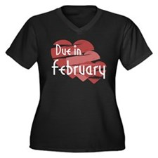 Due In February Red Hearts Women's Plus Size V-Nec