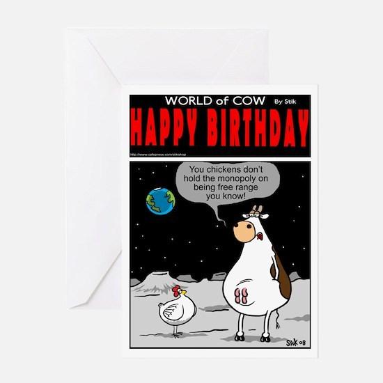 Free Range Cow Greeting Card