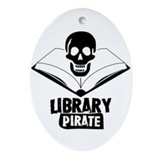 Library Pirate Oval Ornament