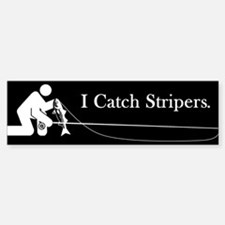"""I Catch Stripers"" Bumper Bumper Bumper Sticker"