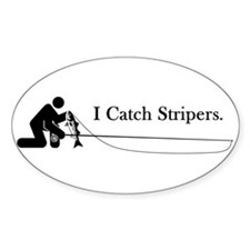 """I Catch Stripers"" Oval Decal"