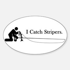 """""""I Catch Stripers"""" Oval Decal"""