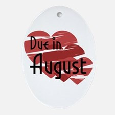Due In August Red Hearts Oval Ornament