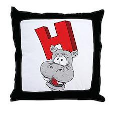 H Is For Hippopotamus Throw Pillow
