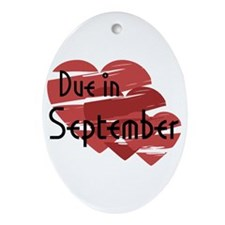Due In September Red Hearts Oval Ornament