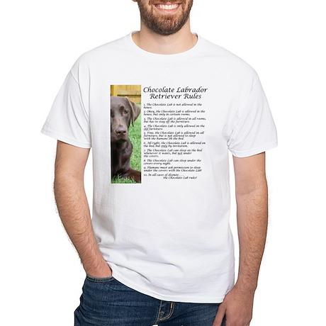 Chocolate Lab Rules White T-Shirt