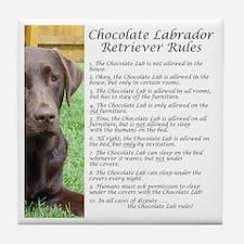 Chocolate Lab Rules Tile Coaster