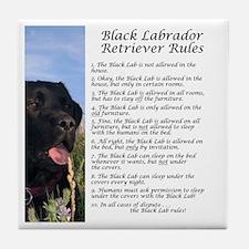 Black Lab Rules Tile Coaster