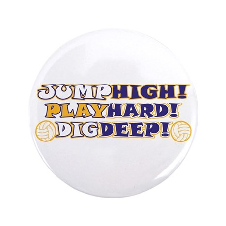 """VolleyBall Play Hard 3.5"""" Button (10 pack)"""