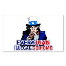 EveryJuan Illegal Go Home Rectangle Bumper Stickers