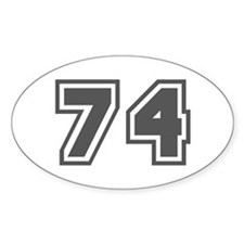 Number 74 Oval Decal