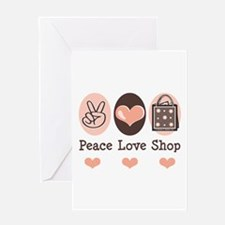 Peace Love Shop Shopping Greeting Card