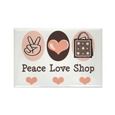 Peace Love Shop Shopping Rectangle Magnet (10 pack