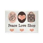 Peace Love Shop Shopping Rectangle Magnet (100 pac