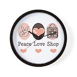 Peace Love Shop Shopping Wall Clock