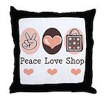Peace Love Shop Shopping Throw Pillow