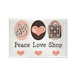 Peace Love Shop Shopping Rectangle Magnet