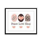 Peace Love Shop Shopping Framed Panel Print