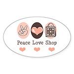 Peace Love Shop Shopping Oval Sticker