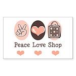 Peace Love Shop Shopping Rectangle Sticker