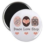 Peace Love Shop Shopping Magnet