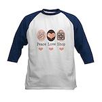 Peace Love Shop Shopping Kids Baseball Jersey