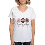Peace Love Shop Shopping Women's V-Neck T-Shirt