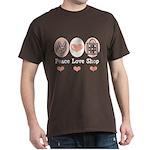 Peace Love Shop Shopping Dark T-Shirt