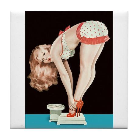 Weighing Girl Tile Coaster