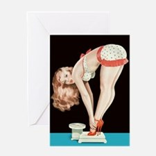 Weighing Girl Greeting Card