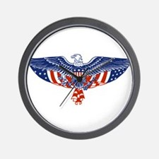 Eagle and American Flag Wall Clock