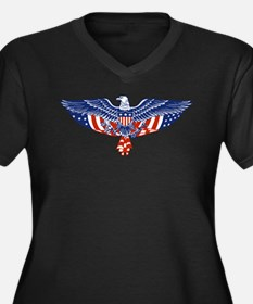 Eagle and American Flag Women's Plus Size V-Neck D