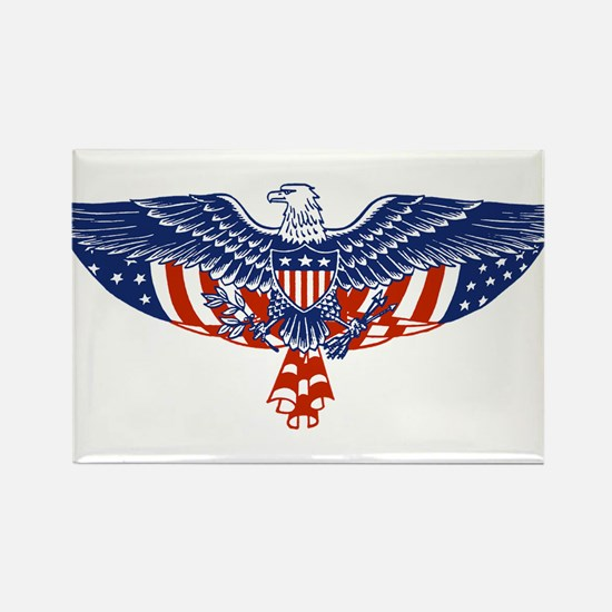 Eagle and American Flag Rectangle Magnet