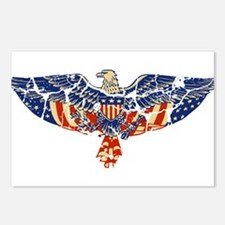 Retro Eagle and USA Flag Postcards (Package of 8)