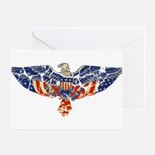 Retro Eagle and USA Flag Greeting Card