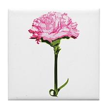 Pink Carnation Tile Coaster