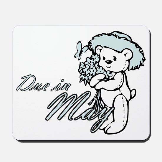 Due In May Blue Flower Teddy Mousepad