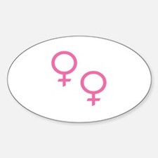 Pink Female Symbols Oval Decal