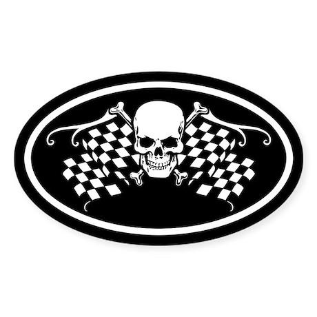 Checkered Oval Sticker