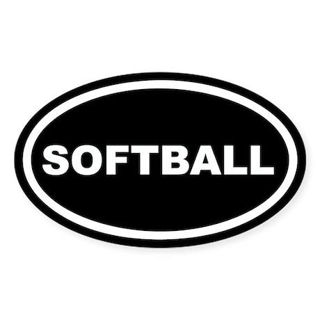 Softball Euro Oval Sticker